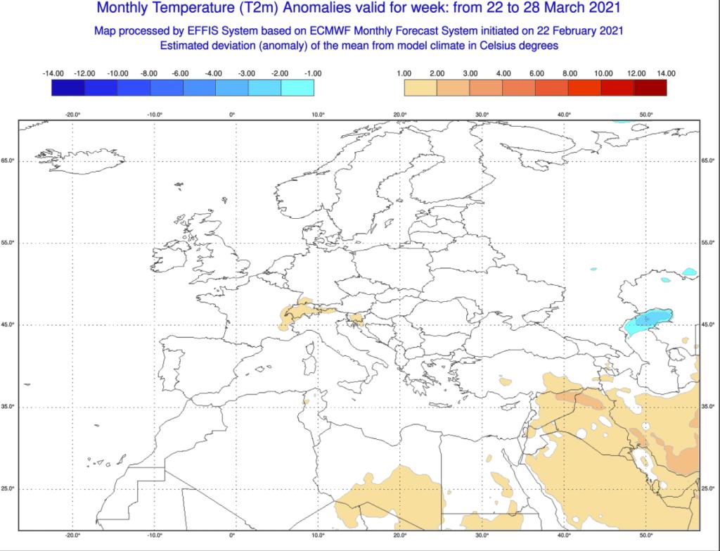 Pogoda długoterminowa marzec 2021 ECMWF na okres od 22.03.2021 do 28.03.2021