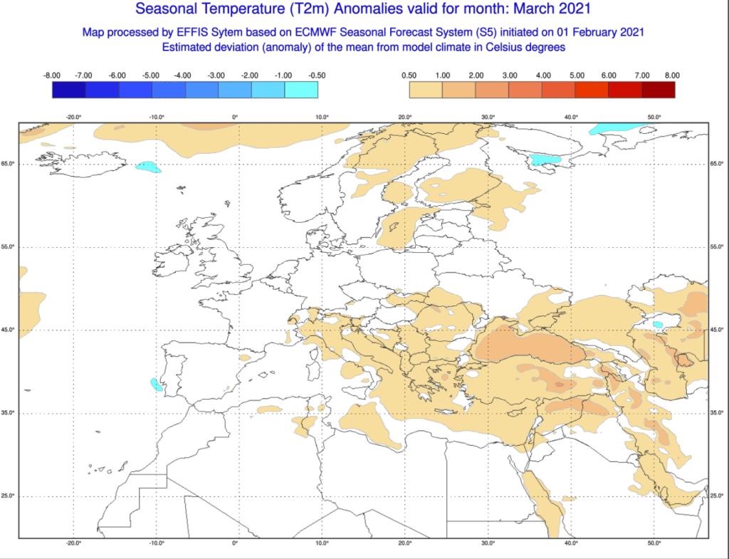 Pogoda miesięczna, marzec 2021 według ECMWF.