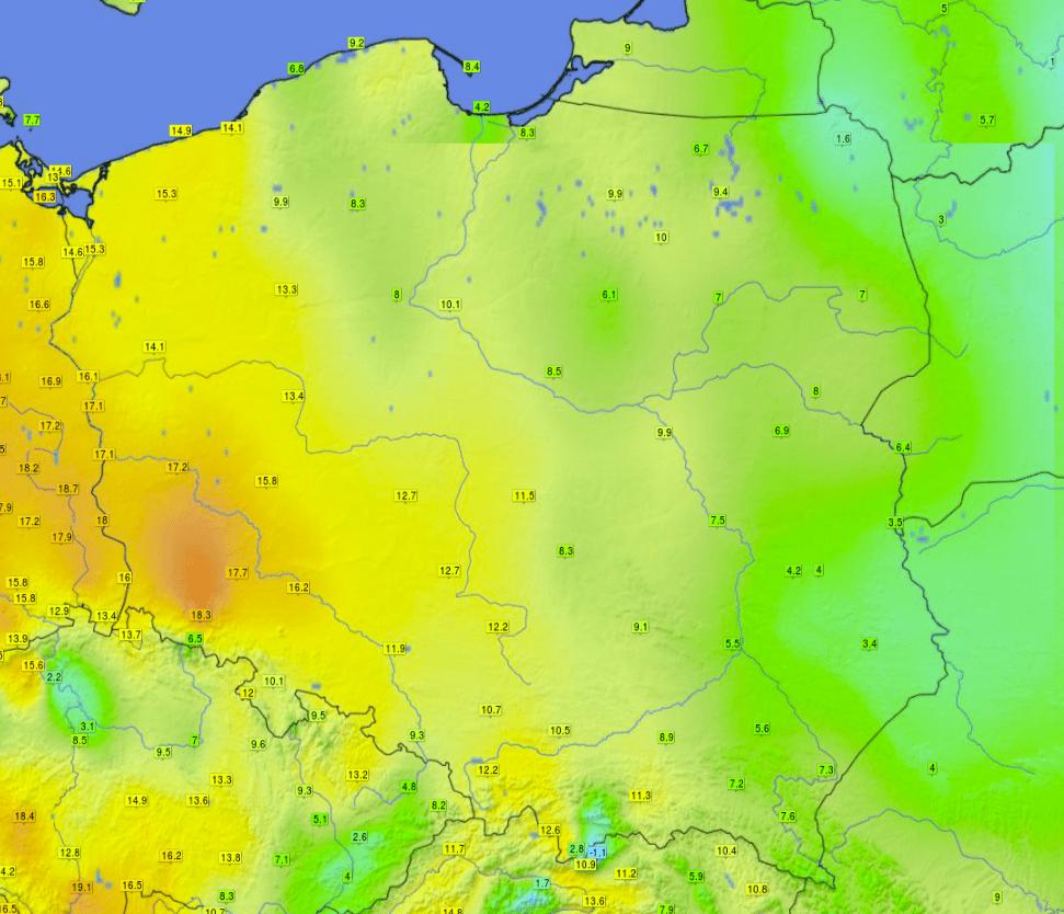 Wysoka temperatura. Wtorek 23.02.2021 w Polsce.