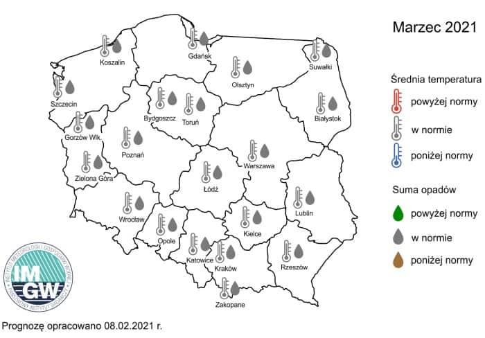 Pogoda na marzec 2021, IMGW-PIB.