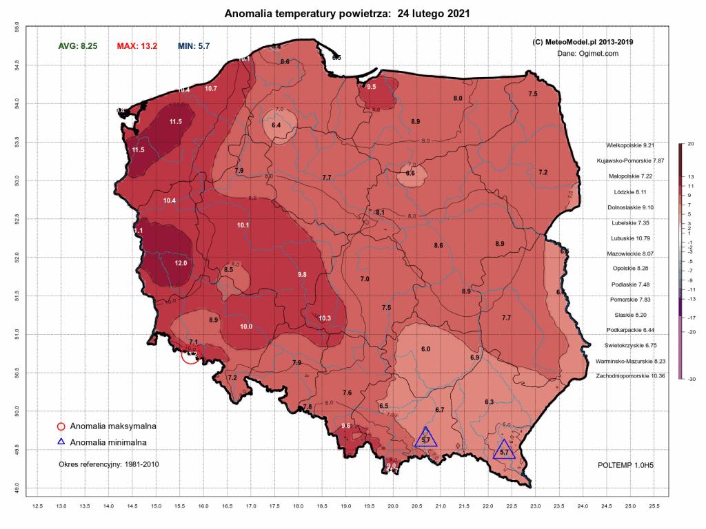 Pogoda. Anomalia temperatury na dzień 24.02.2021.