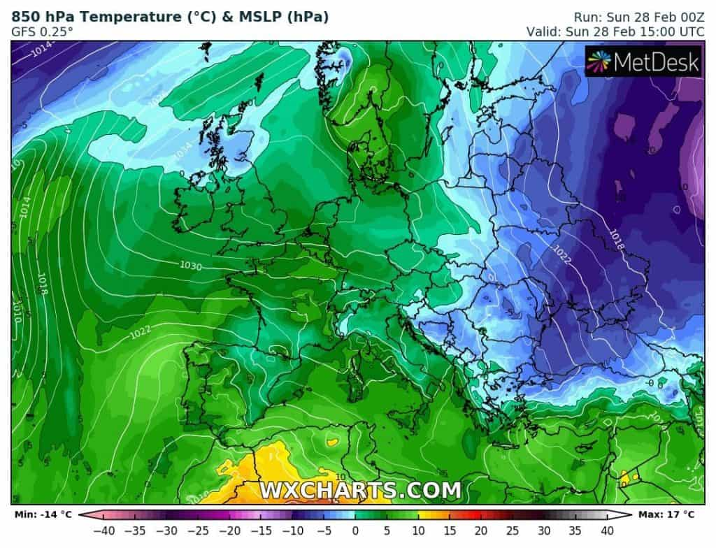 Masy powietrza nad Europą. Mróz tylko na wschodzie kontynentu
