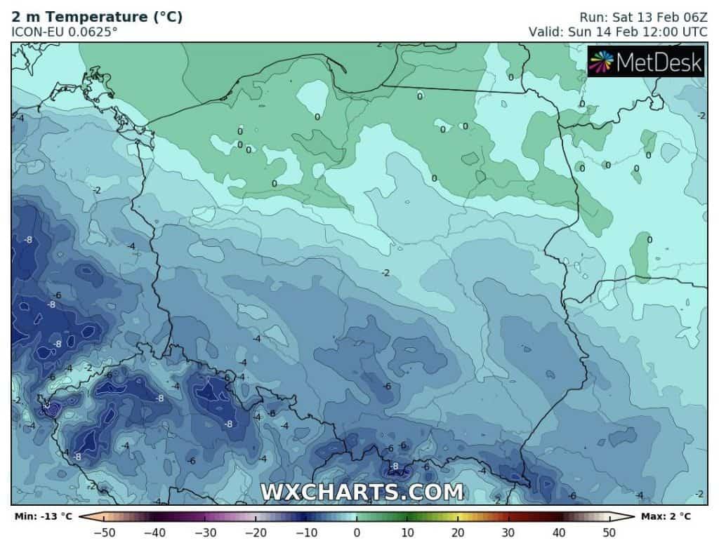 Temperatura w Polsce w niedzielę 14.02