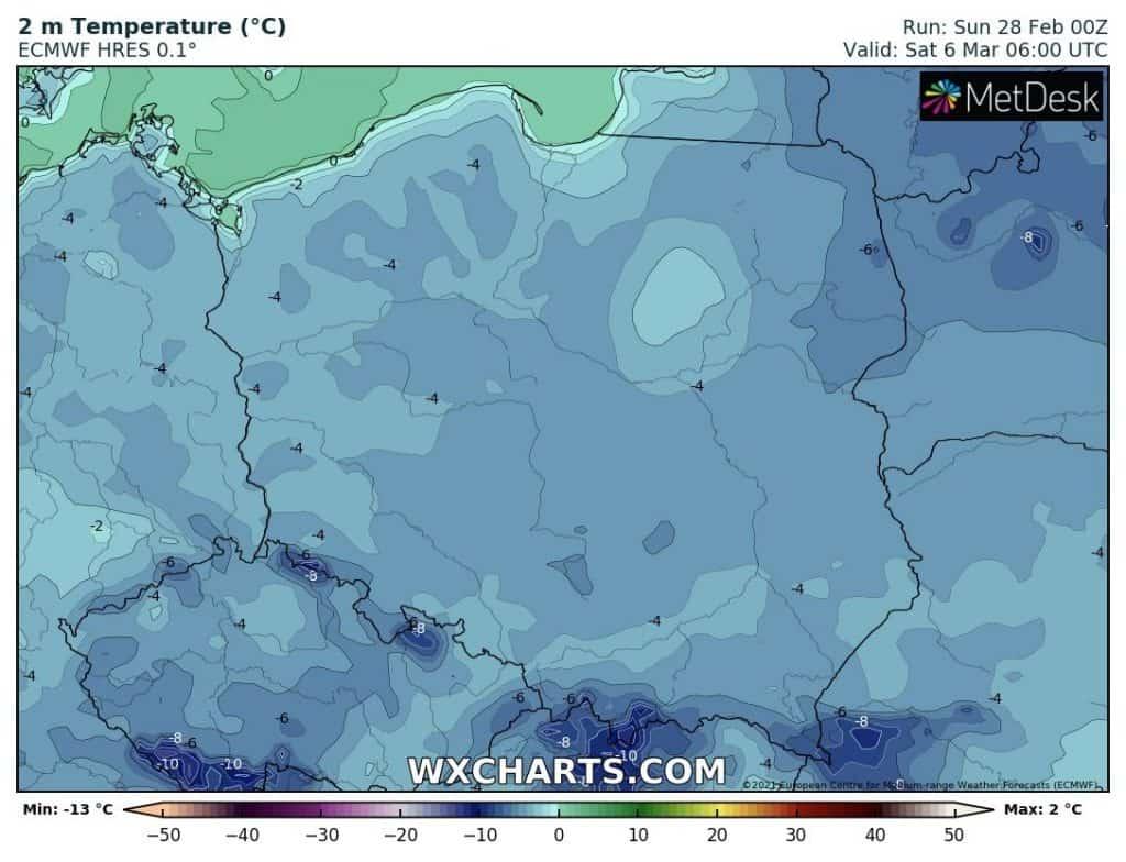 Mróz nocami nad Polską w marcu