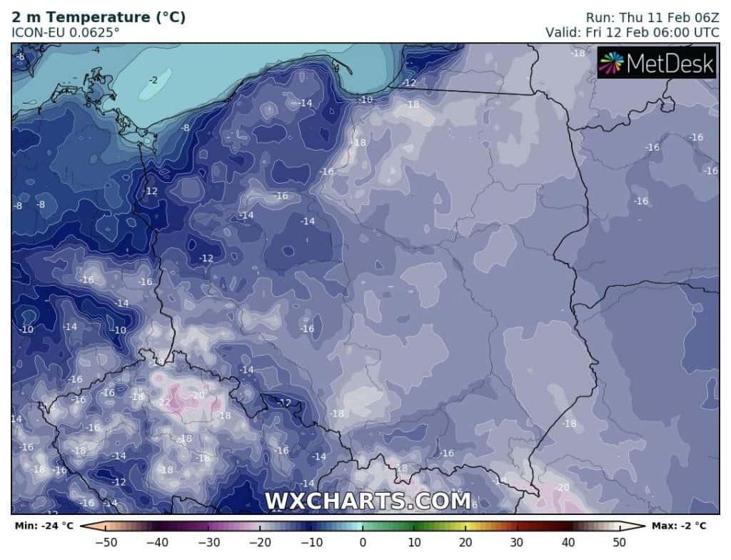 Mróz nad Polską w nocy 11/12 lutego