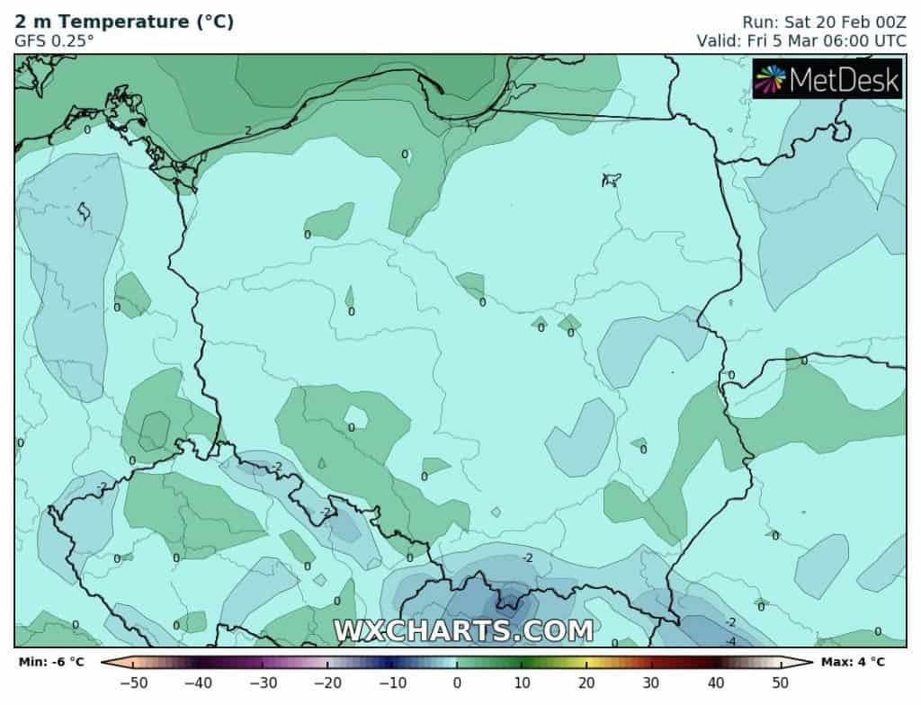 Mróz w Polsce początek marca 2021
