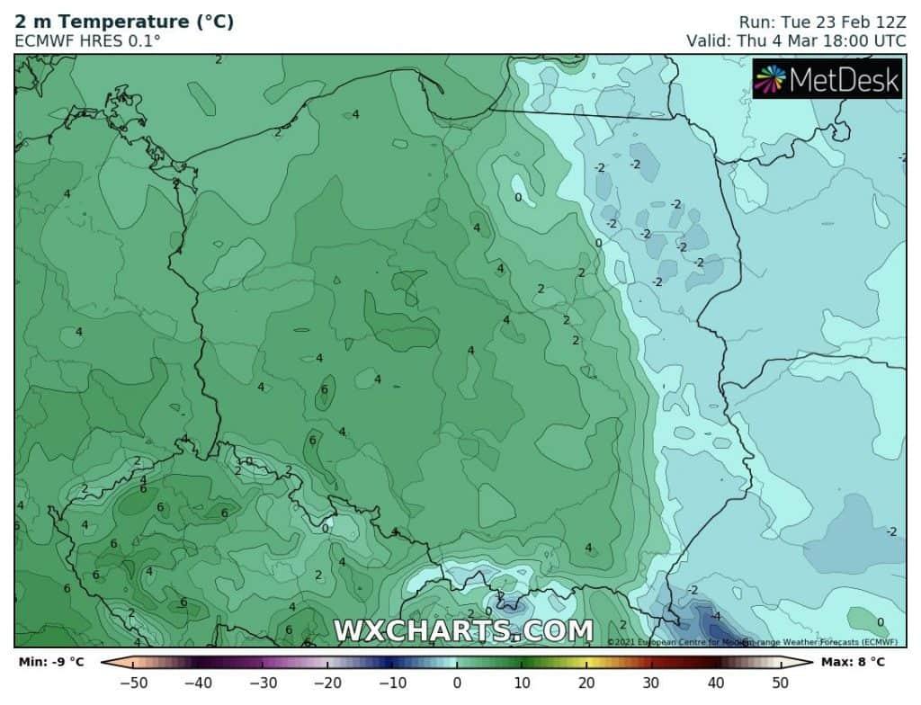 Mróz w Polsce na początku marca. Dane z modelu ECMWF