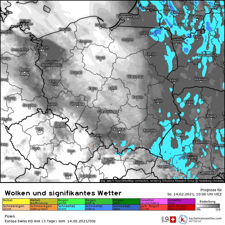 Opady nad Polską w niedzielę 14 lutego
