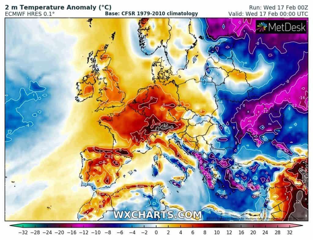 Pogoda długoterminowa oparta o anomalie temperatury nad Europą