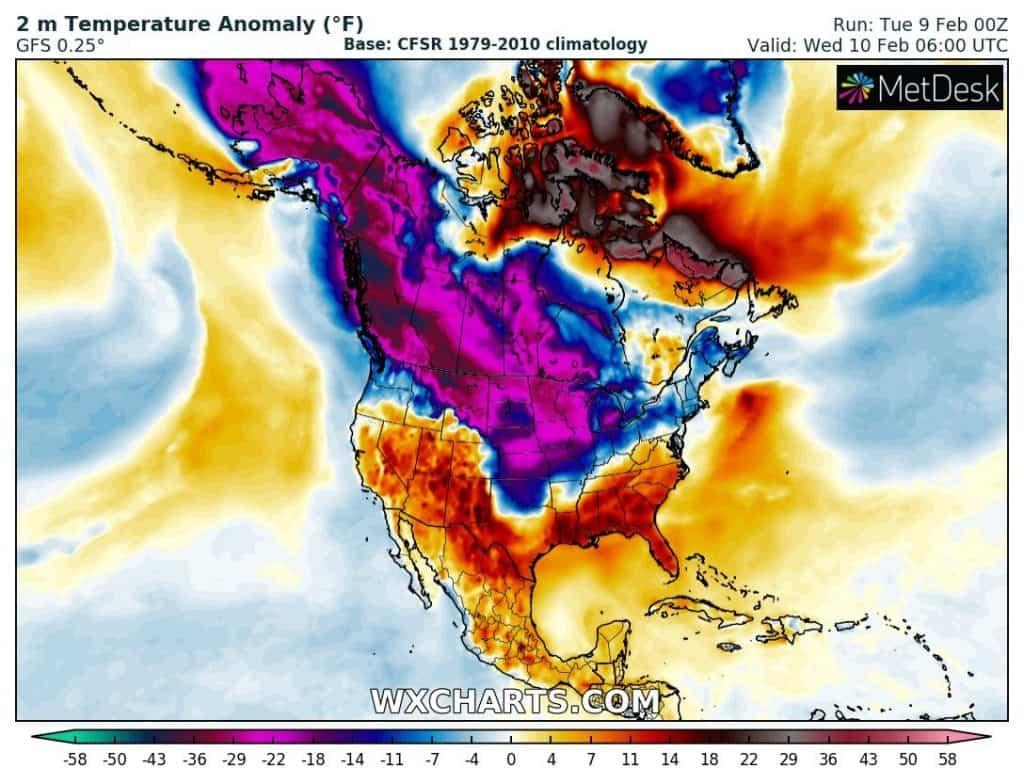 Silny atak zimy w USA