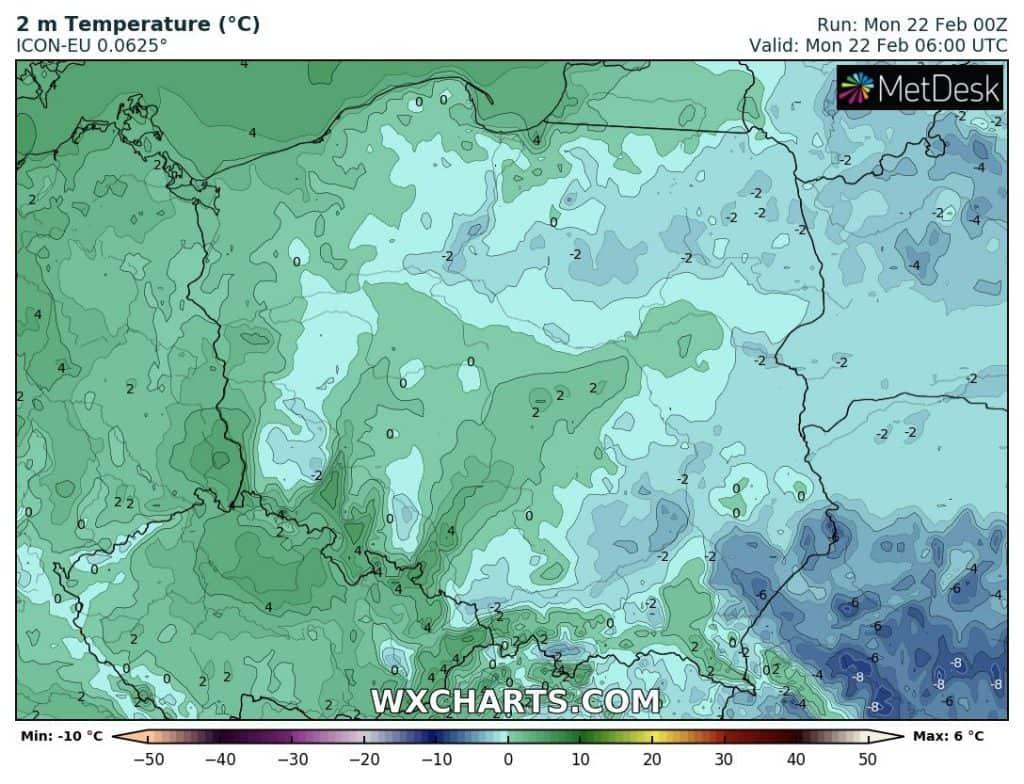 Temperatura w Polsce w poniedziałek rano
