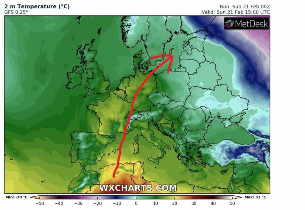 Rucha cząstek pyłu saharyjskiego nad Europą