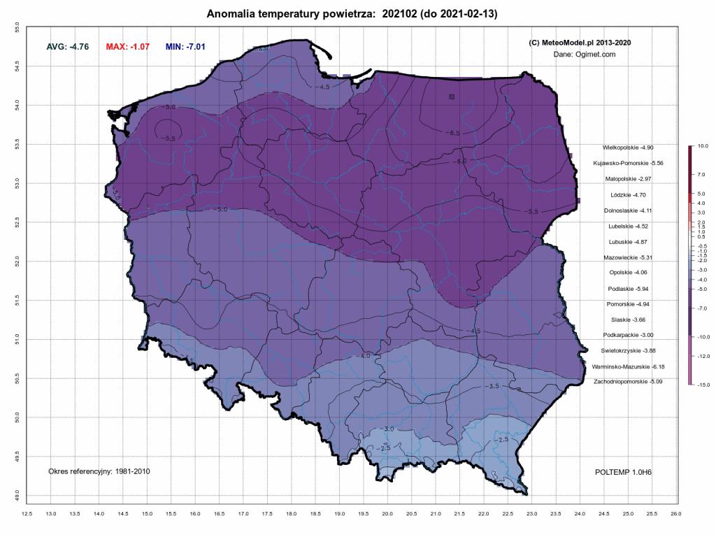 Odwilż w Polsce jest zaskoczeniem. Anomalia temperatury powietrza za okres od 1.02.2021 do 13.02.2021 dla Polski.