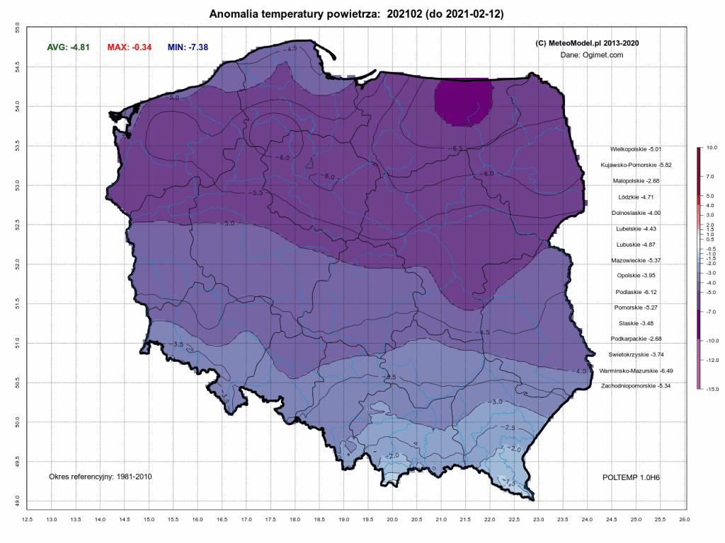 Pogoda. Anomalia temperatury miesięcznej względem okresu referencyjnego 1981-2010. Mróz w Polsce