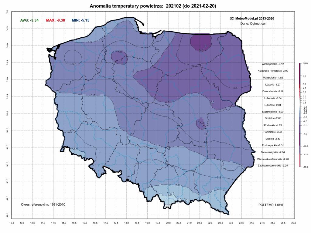 Pogoda długoterminowa. Anomalia temperatury w okresie od 1.02.2021 do 20.02.2021.