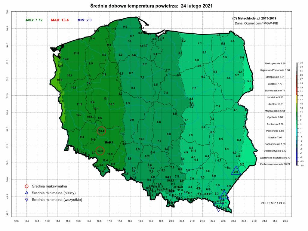 Średnia dobowa temperatura na dzień 24.02.2021.