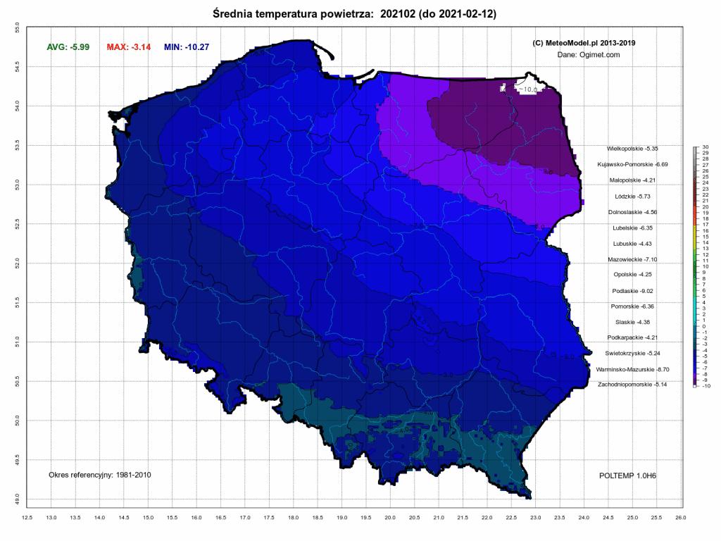 Pogoda. Średnia temperatura powietrza za okres od 1.02.2021 do 12.02.2021. Mróz w naszej części Europy.