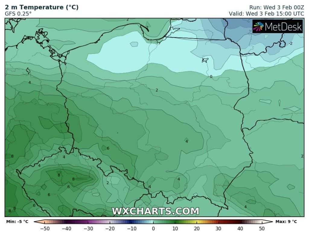 Temperatura w środę nad Polską