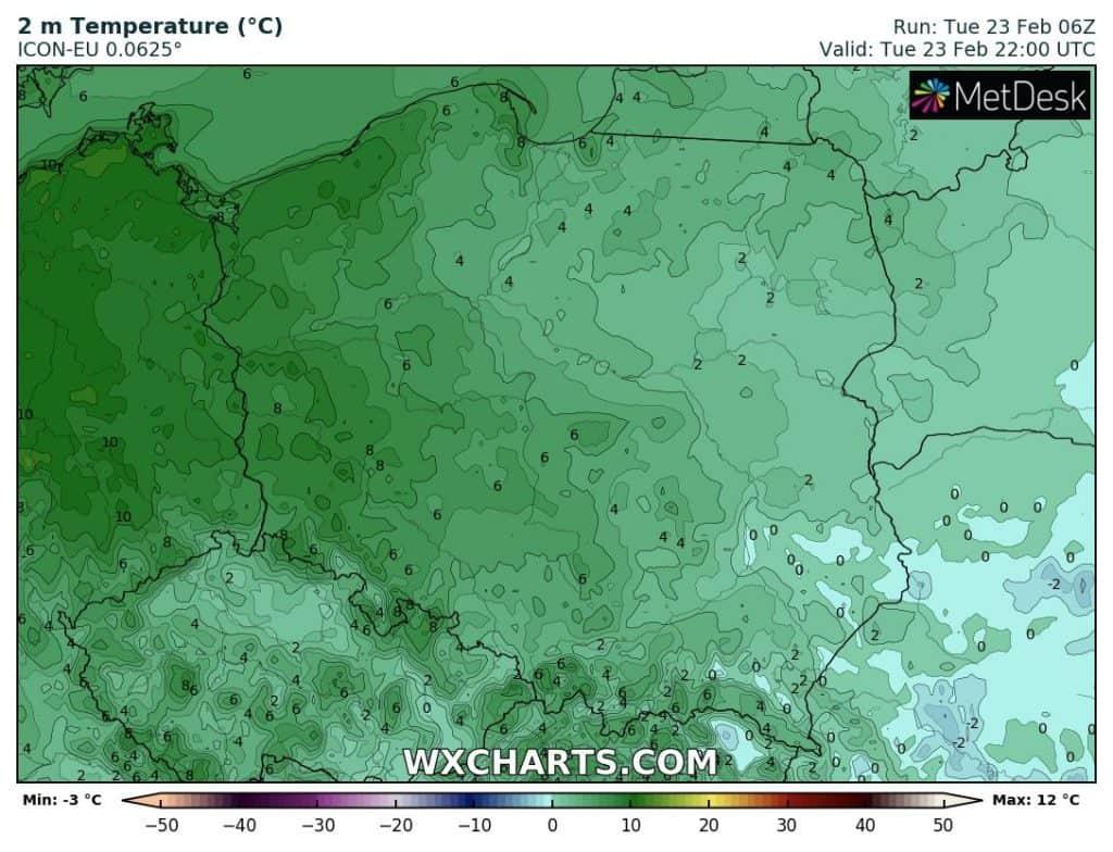 Temperatury w nocy 23-4 lutego. Mróz ustąpił nad Polską