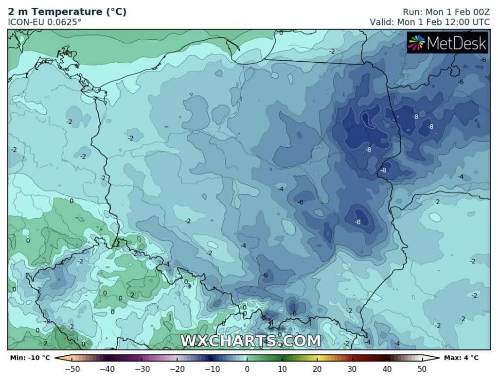 Temperatura dziś w Polsce