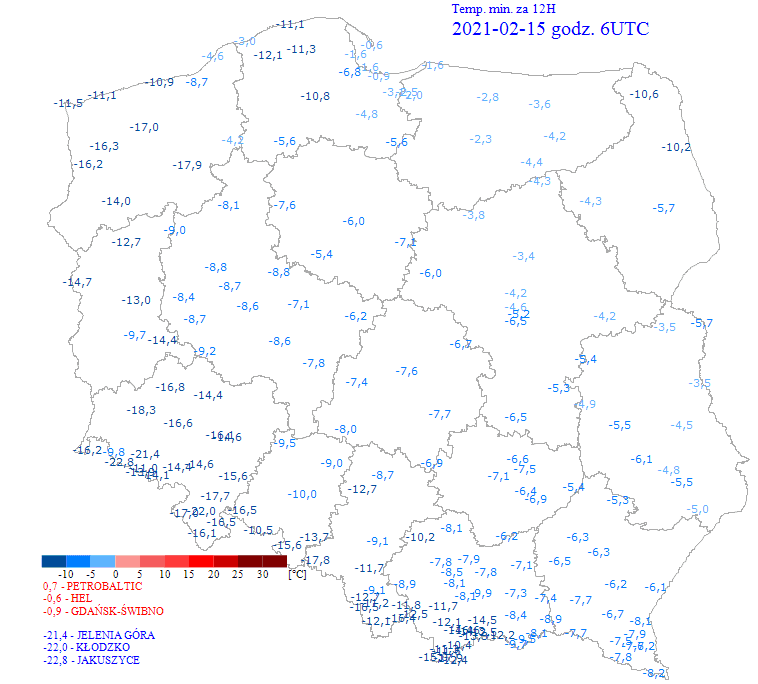 Mróz w Polsce. Dane pomiarowe z sieci obserwacyjnej IMGW-PIB.