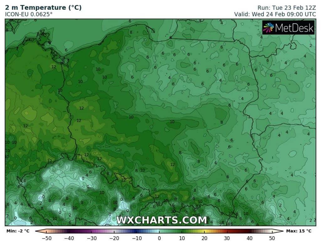 Uderzenie ciepła w Polsce w środę 24 lutego 2021