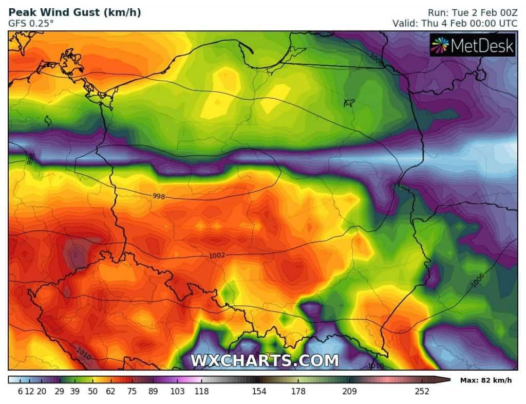 Wichura w czwartek w Polsce