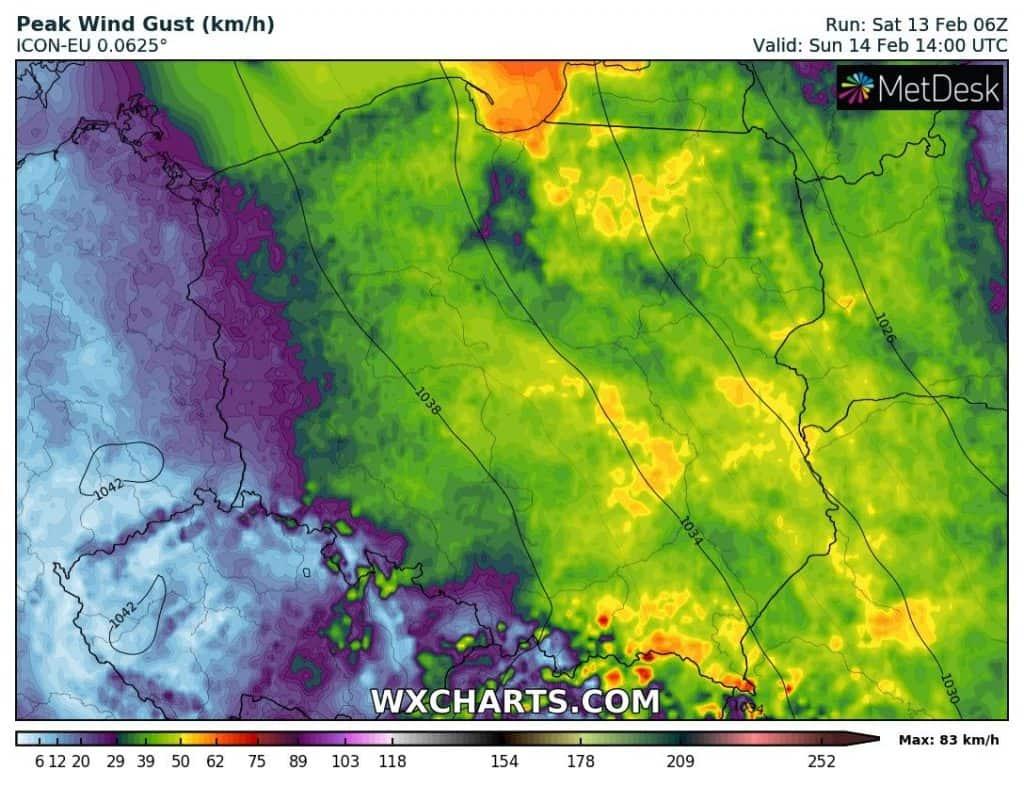 Wiatr w niedzielę 14.02 w Polsce