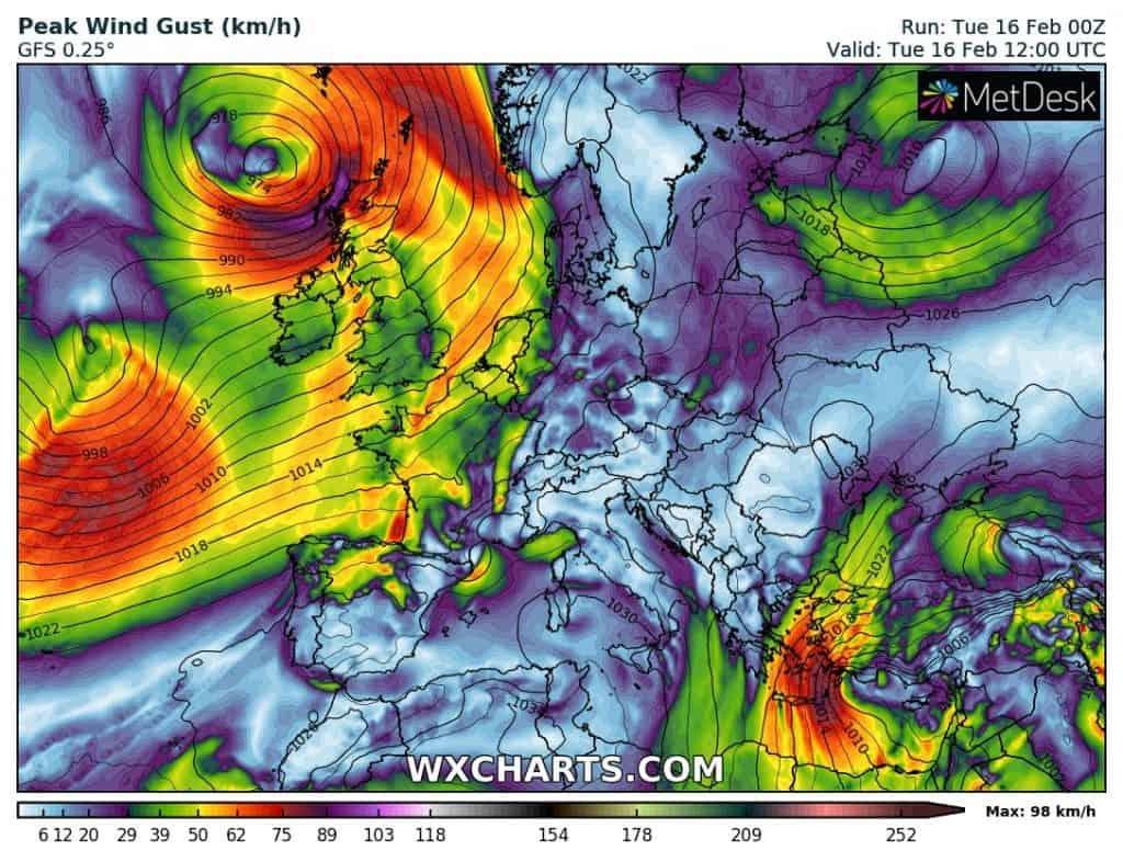 Pogoda w lutym 2021. Wichura na zachodzie Europy