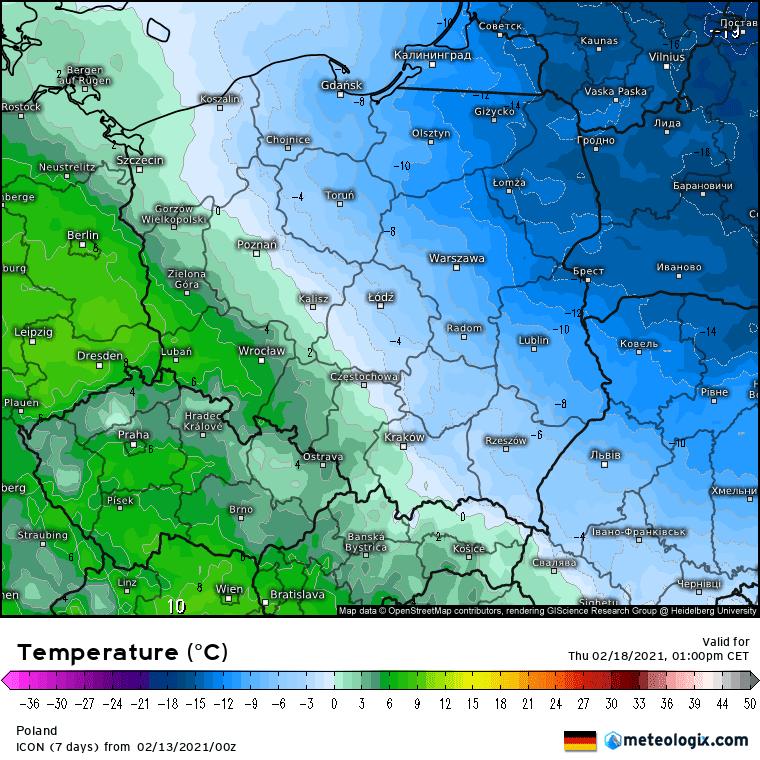 Temperatura czwartek wedlug ICON, Mróz w Polsce