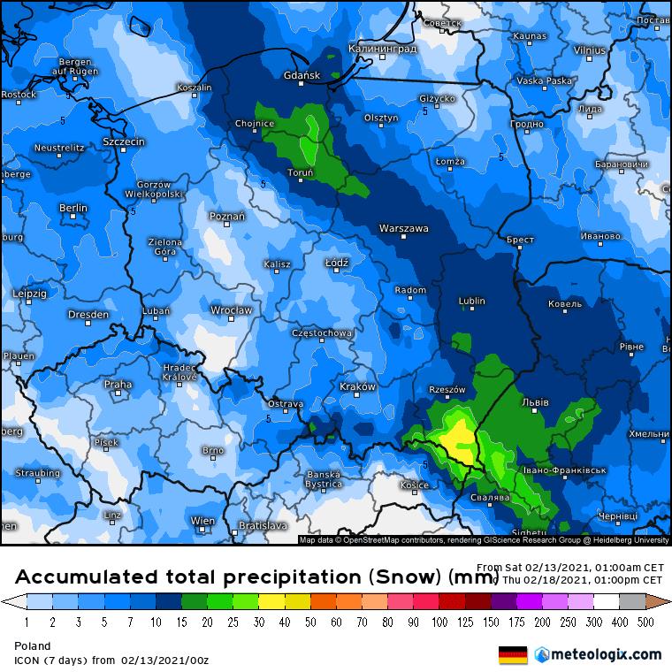 Prognoza akumulacji opadów na okres od 13.02.2021 do 18.02.2021.