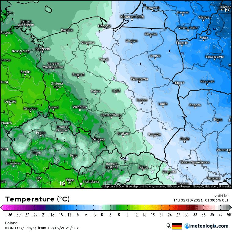 Pogoda na czwartek. Wystąpi podział w pogodzie na chłodny wschód i cieplejszy zachód.