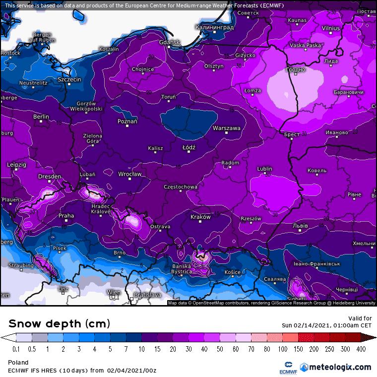 Prognoza orientacyjna grubości pokrywy śnieżnej według ECMWF