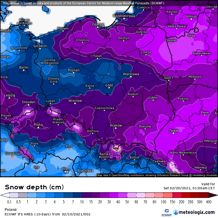 zasięg pokrywy śnieżnej ECMWF