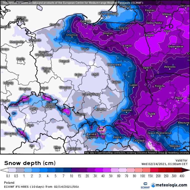 Pokrywa śnieżna ECMWF.