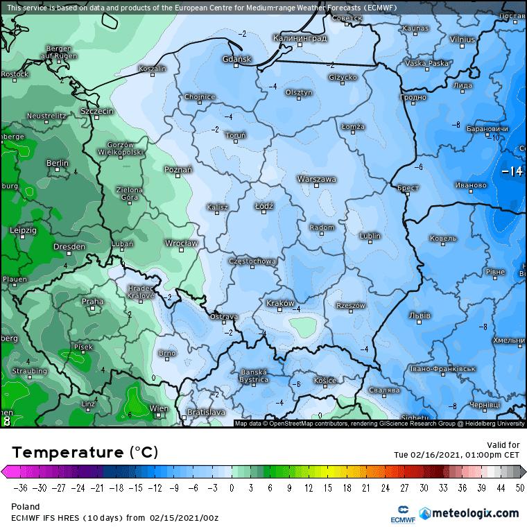 Pogoda na 5 dni dla Polski. Temperatura powietrza w drugiej części dnia we wtorek według europejskiego modelu ECMWF.