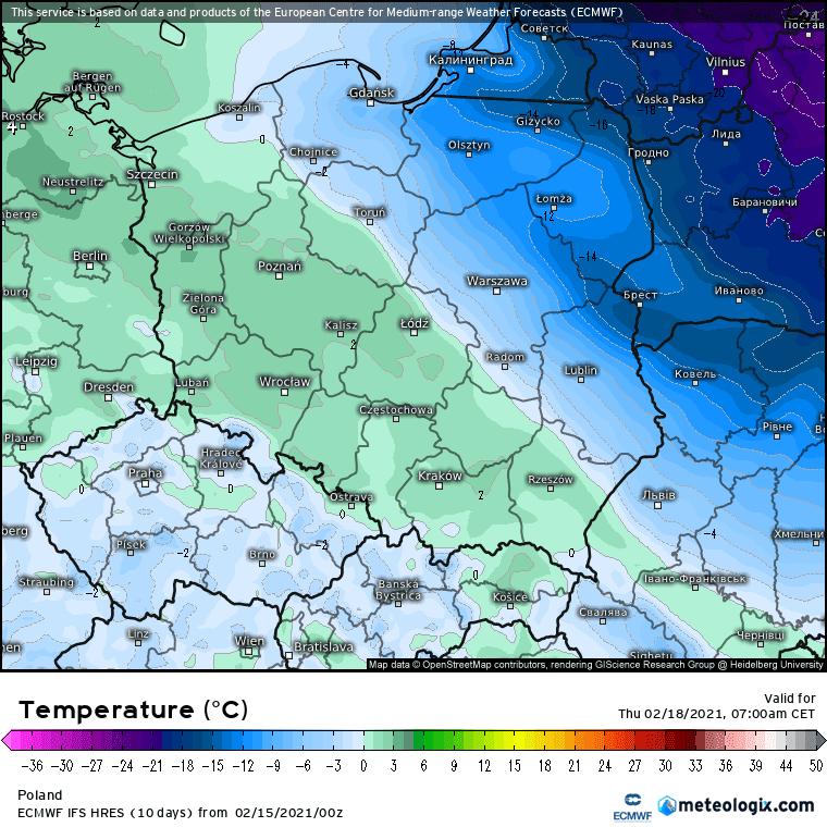 Prognozowana temperatura ECMWF