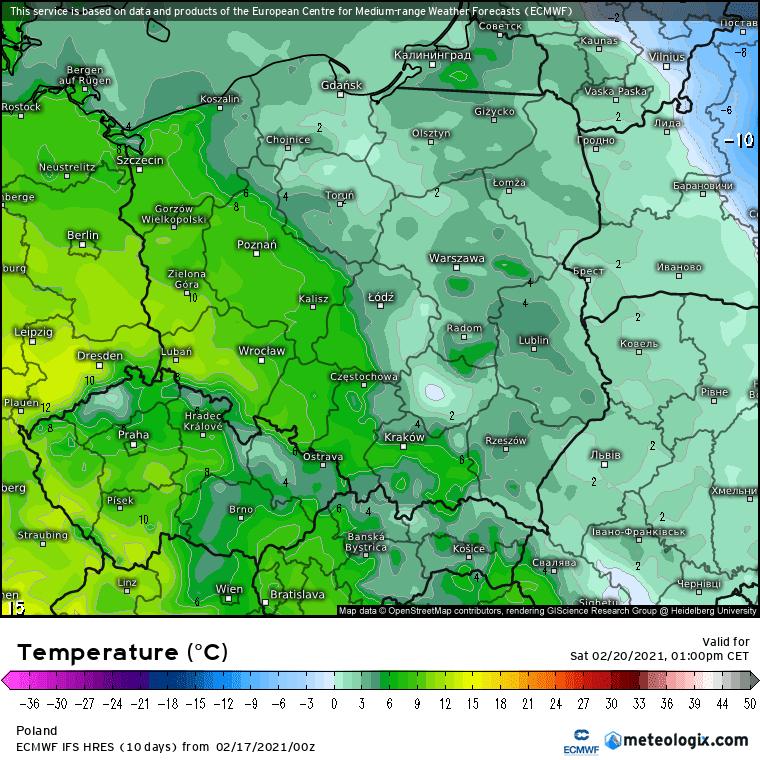 Pogoda. Prognozowana temperatura w sobotę, model ECMWF