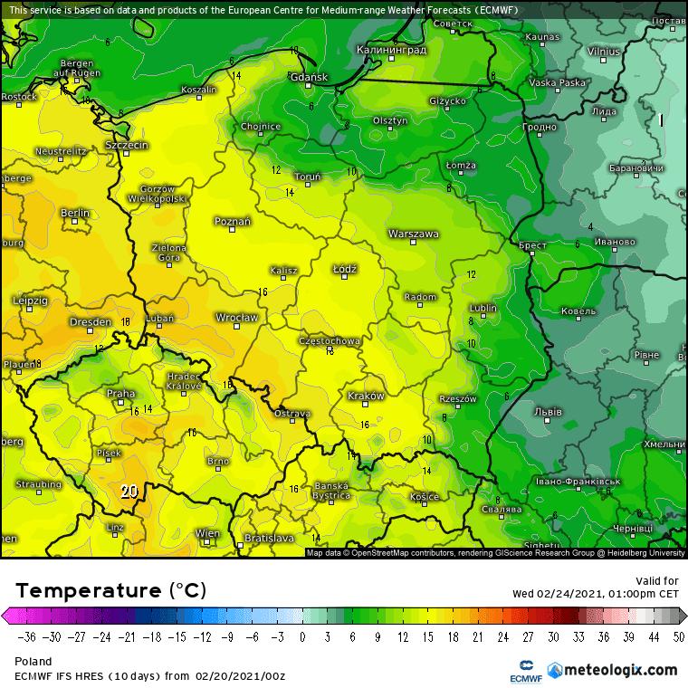Pogoda. ECMWF, środa Polska