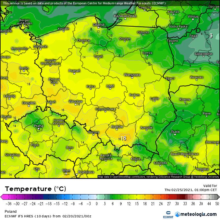 Pogoda. Czwartek, ECMWF Polska