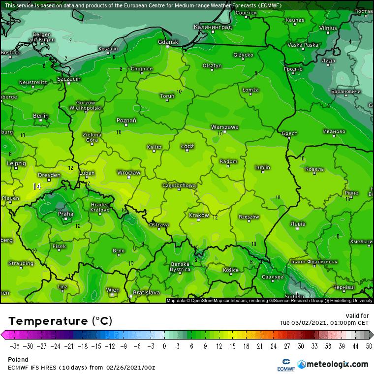 Prognoza maksymalnej temperatury na 5 dni