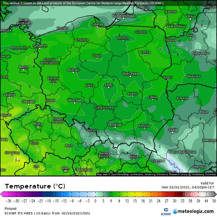 Pogoda. Prognoza ECMWF na 1 marca 2021