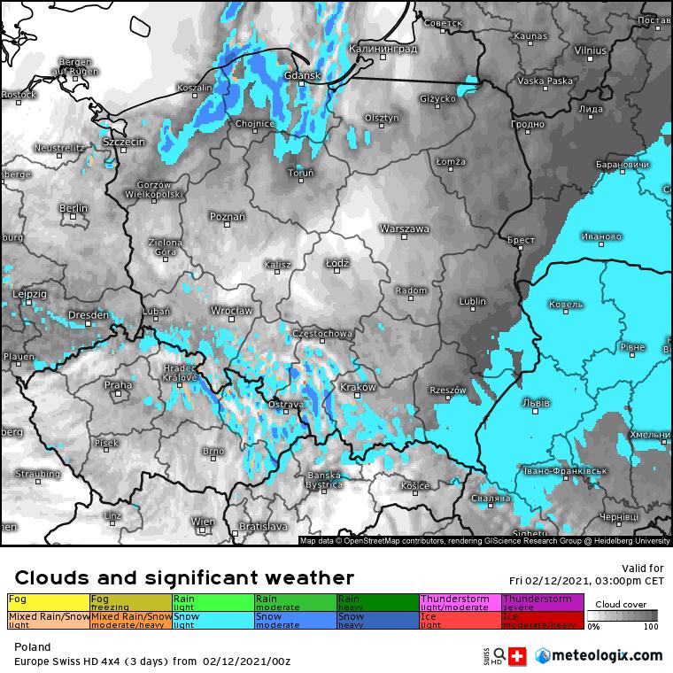 zachmurzenie i opady na obszarze Polski