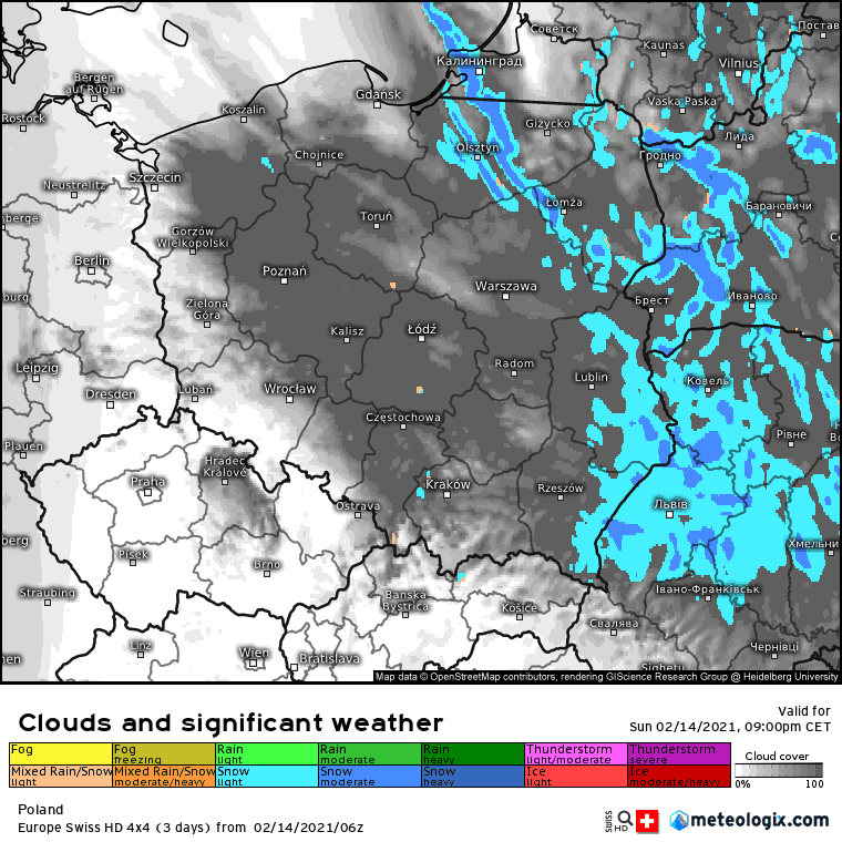 14/15 lutego 2021. Opady zimowe we wschodniej połowie kraju