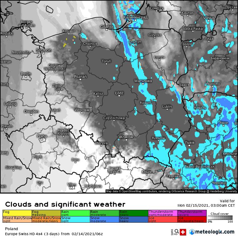 noc 14/15 lutego 2021. Zimowe opady w Polsce