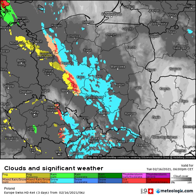 Odwilż. Prognoza zachmurzenia, obszaru i natężenia opadów SWISS-HD