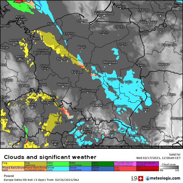 Odwilż. SWISS-HD prognoza opadów.
