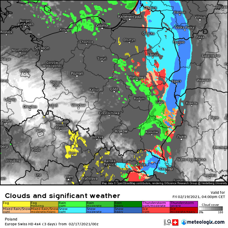 Pogoda. Opady marznące w Polsce