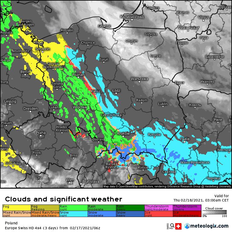 Pogoda. Opady atmosferyczne na obszarze Polski