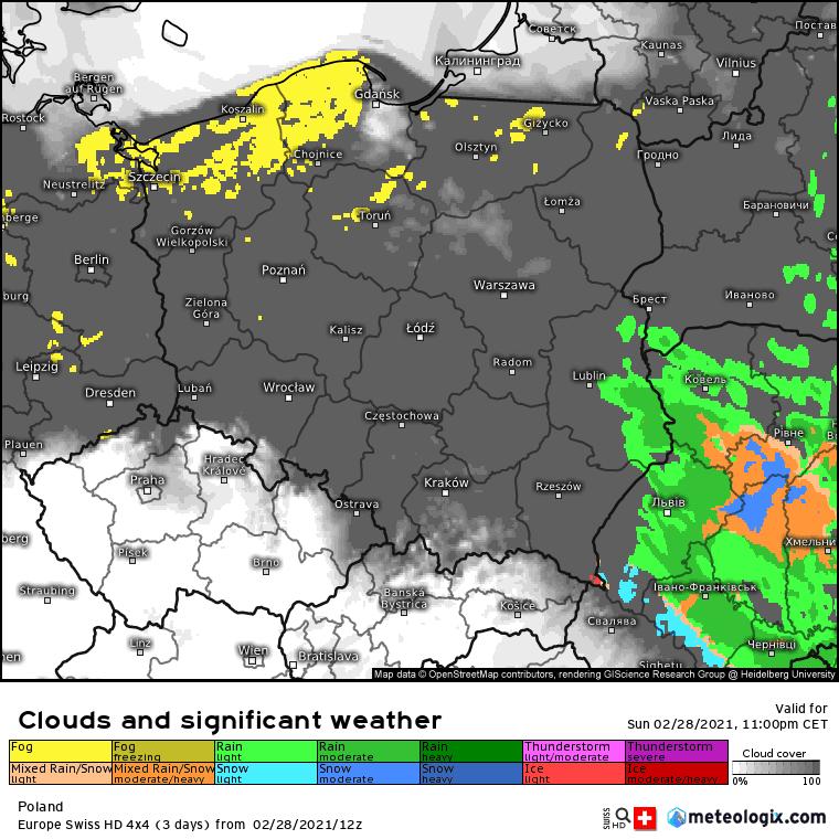 Pogoda. Mgły i chmury w Polsce